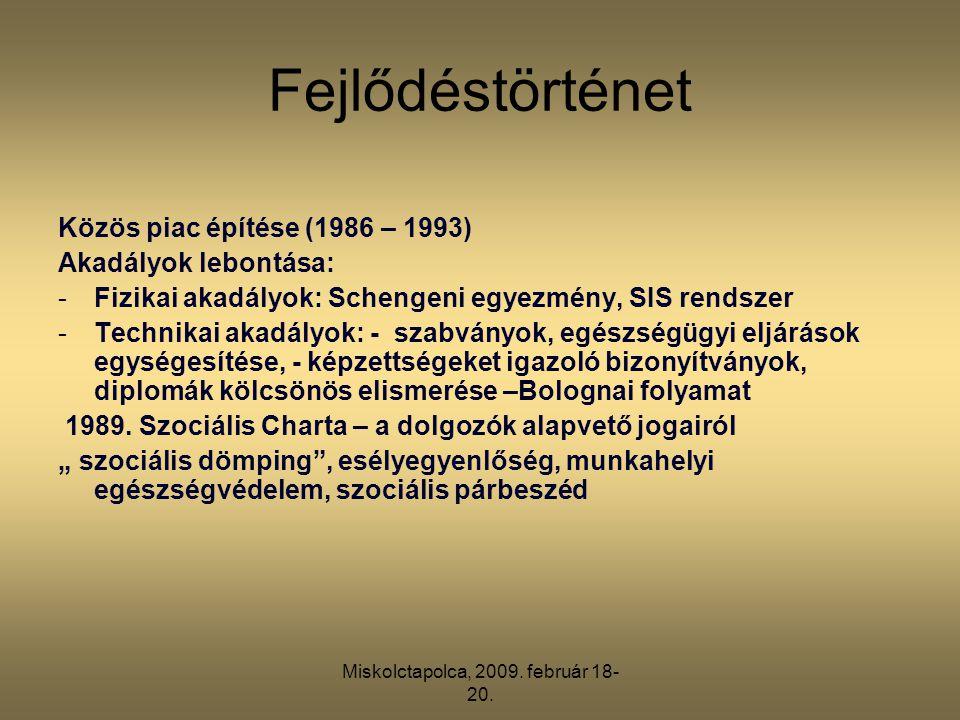 Miskolctapolca, 2009. február 18- 20. Fejlődéstörténet Közös piac építése (1986 – 1993) Akadályok lebontása: -Fizikai akadályok: Schengeni egyezmény,
