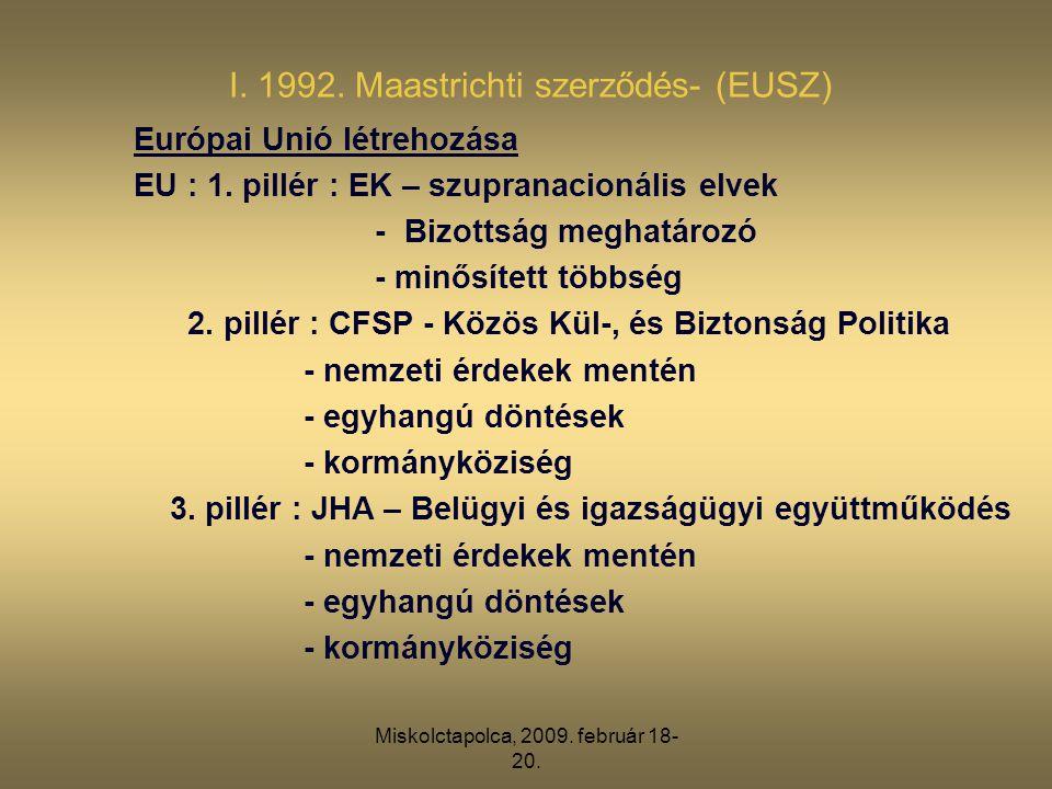 Miskolctapolca, 2009. február 18- 20. I. 1992. Maastrichti szerződés- (EUSZ) Európai Unió létrehozása EU : 1. pillér : EK – szupranacionális elvek - B