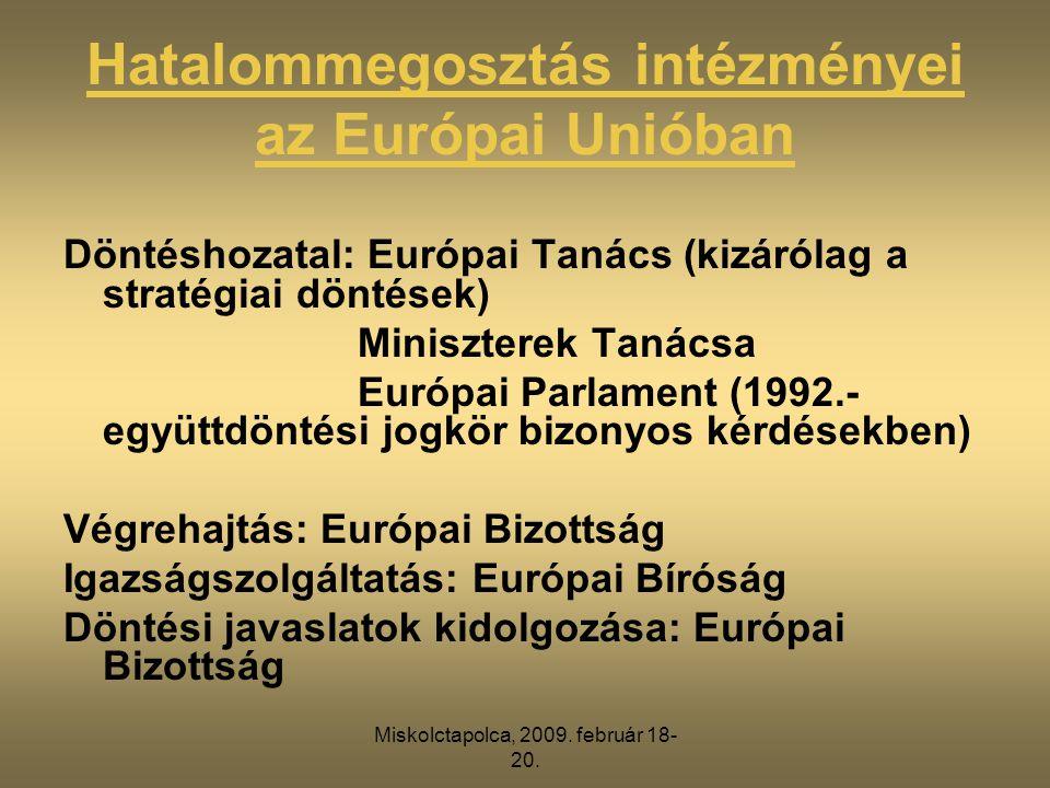 Hatalommegosztás intézményei az Európai Unióban Döntéshozatal: Európai Tanács (kizárólag a stratégiai döntések) Miniszterek Tanácsa Európai Parlament (1992.- együttdöntési jogkör bizonyos kérdésekben) Végrehajtás: Európai Bizottság Igazságszolgáltatás: Európai Bíróság Döntési javaslatok kidolgozása: Európai Bizottság