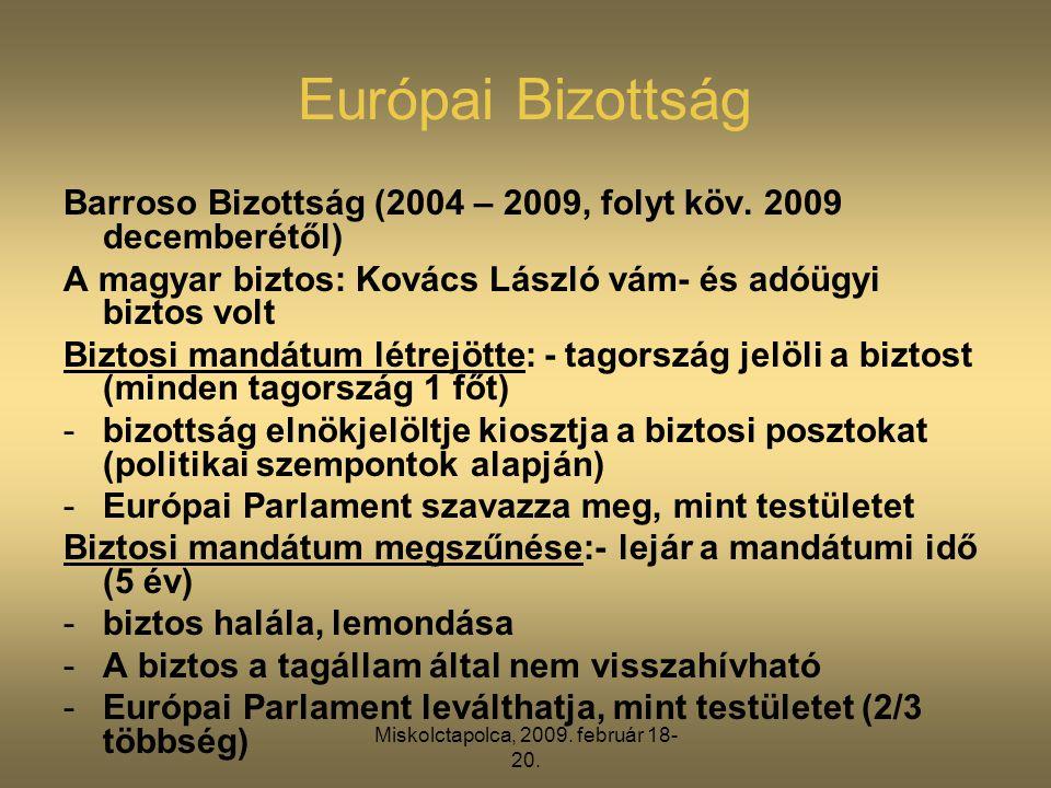 Miskolctapolca, 2009. február 18- 20. Európai Bizottság Barroso Bizottság (2004 – 2009, folyt köv. 2009 decemberétől) A magyar biztos: Kovács László v