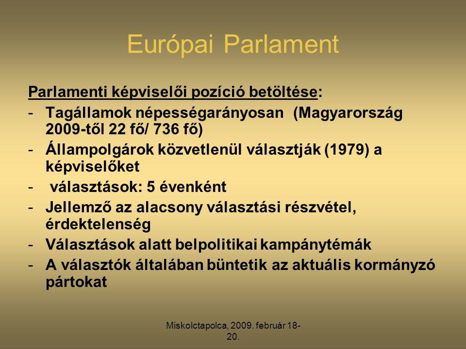 Miskolctapolca, 2009. február 18- 20. Európai Parlament Parlamenti képviselői pozíció betöltése: -Tagállamok népességarányosan (Magyarország 2009-től