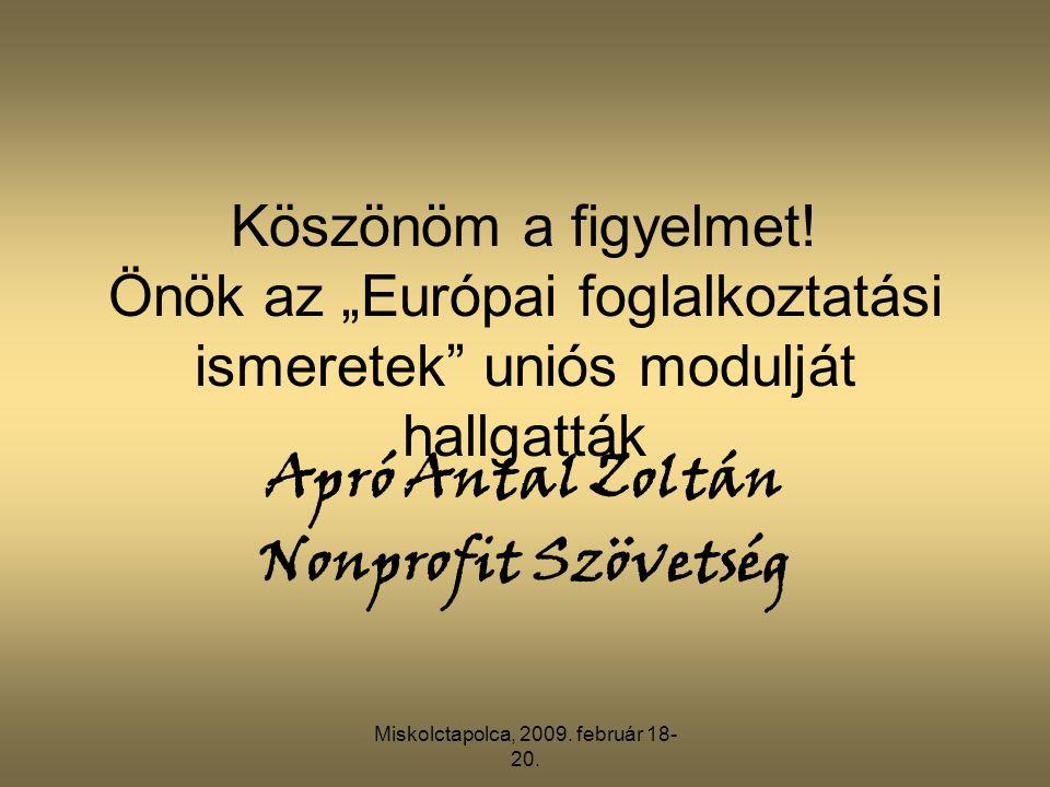 """Miskolctapolca, 2009. február 18- 20. Köszönöm a figyelmet! Önök az """"Európai foglalkoztatási ismeretek"""" uniós modulját hallgatták Apró Antal Zoltán No"""