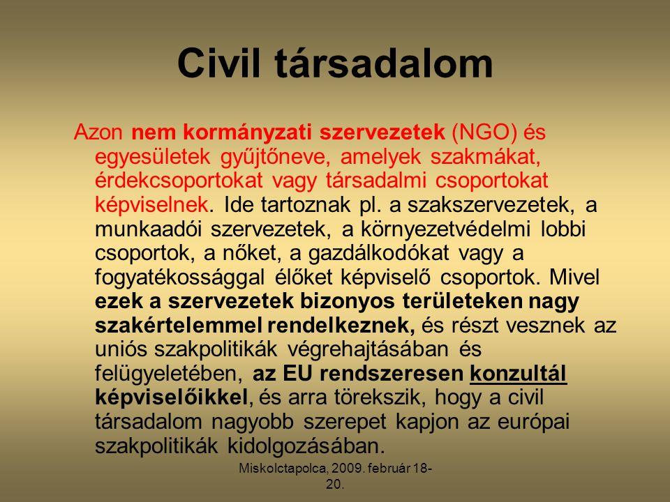 Miskolctapolca, 2009. február 18- 20. Civil társadalom Azon nem kormányzati szervezetek (NGO) és egyesületek gyűjtőneve, amelyek szakmákat, érdekcsopo
