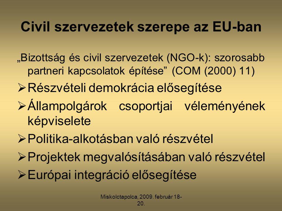 """Miskolctapolca, 2009. február 18- 20. Civil szervezetek szerepe az EU-ban """"Bizottság és civil szervezetek (NGO-k): szorosabb partneri kapcsolatok épít"""