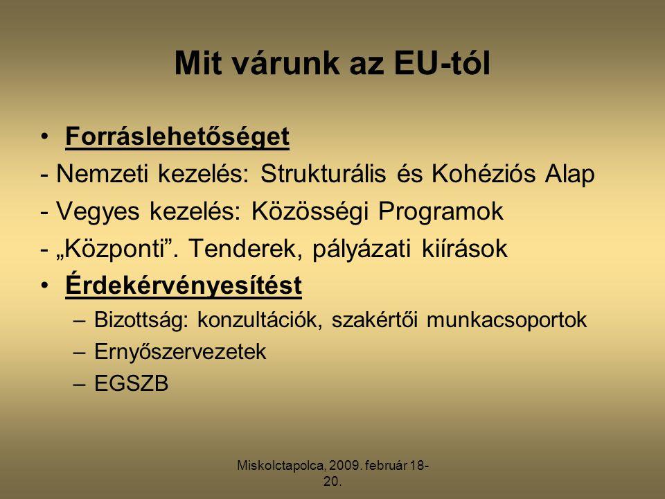 Miskolctapolca, 2009. február 18- 20. Mit várunk az EU-tól •Forráslehetőséget - Nemzeti kezelés: Strukturális és Kohéziós Alap - Vegyes kezelés: Közös