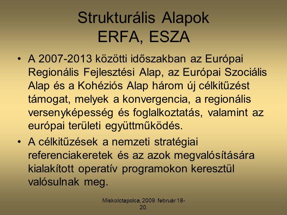 Miskolctapolca, 2009. február 18- 20. Strukturális Alapok ERFA, ESZA •A 2007-2013 közötti időszakban az Európai Regionális Fejlesztési Alap, az Európa