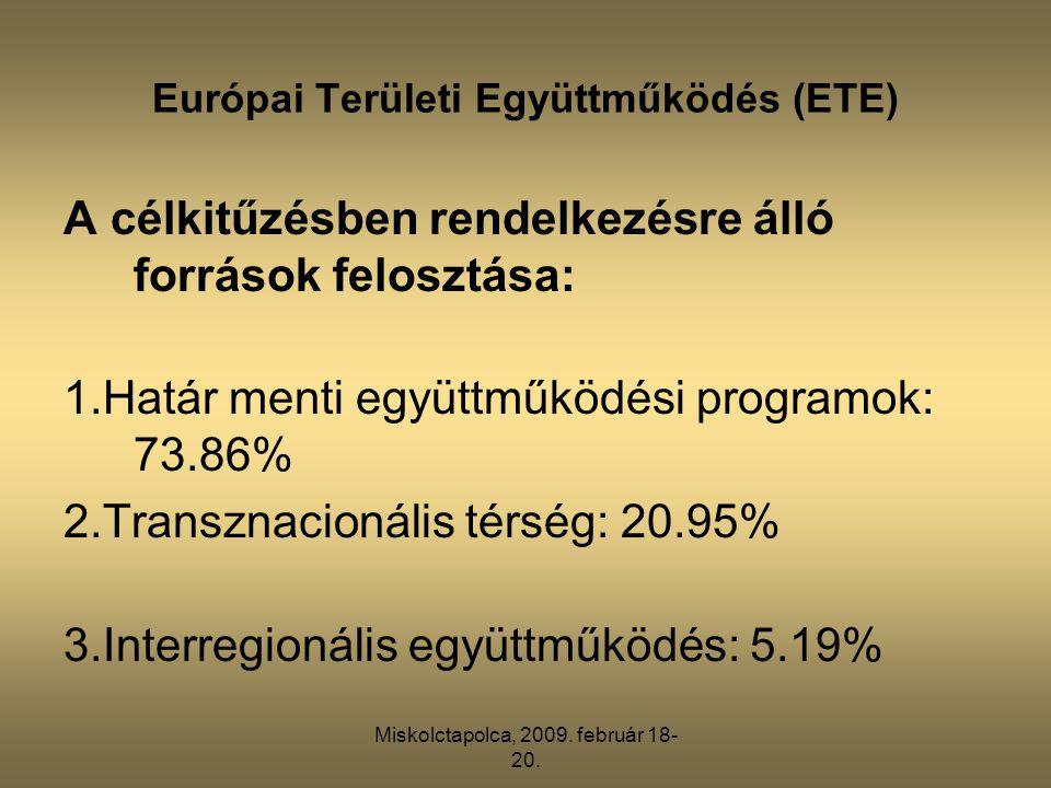 Miskolctapolca, 2009. február 18- 20. Európai Területi Együttműködés (ETE) A célkitűzésben rendelkezésre álló források felosztása: 1.Határ menti együt