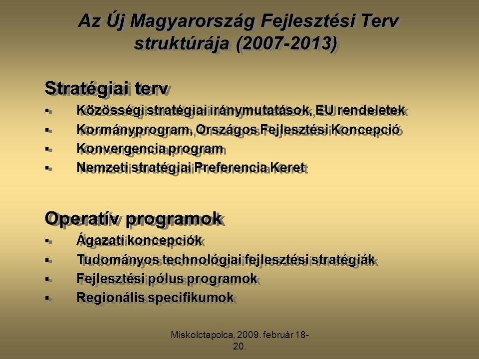 Miskolctapolca, 2009. február 18- 20. Stratégiai terv  Közösségi stratégiai iránymutatások, EU rendeletek  Kormányprogram, Országos Fejlesztési Konc