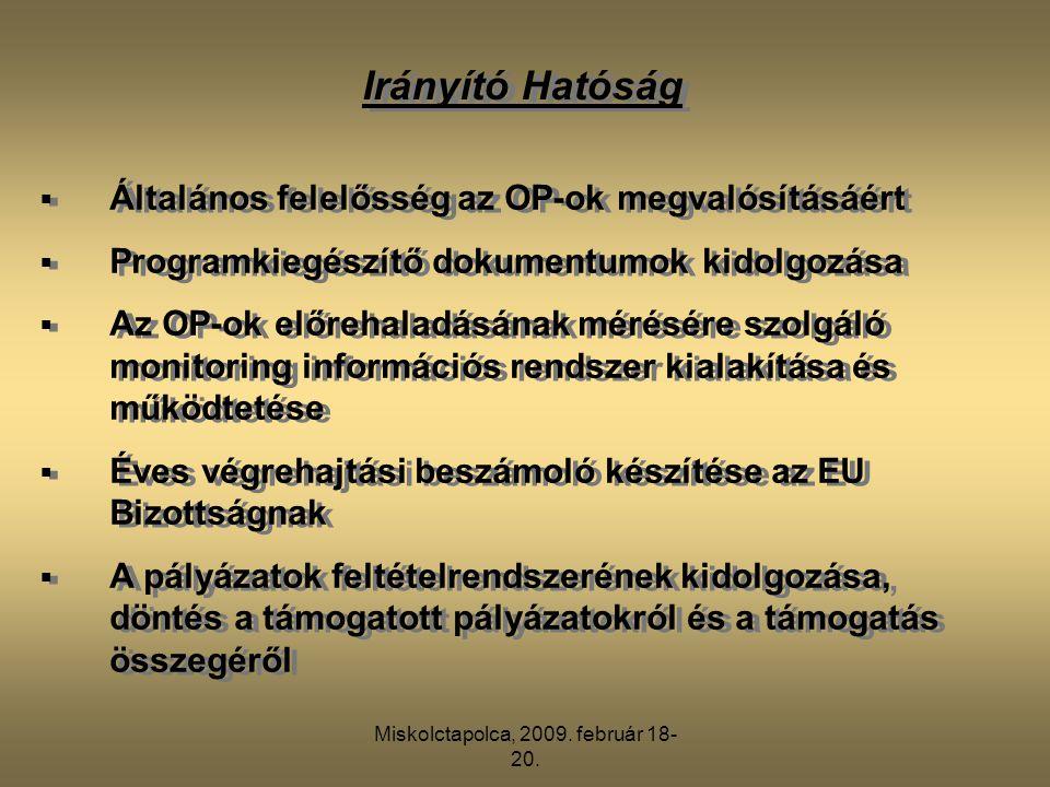 Miskolctapolca, 2009. február 18- 20.  Általános felelősség az OP-ok megvalósításáért  Programkiegészítő dokumentumok kidolgozása  Az OP-ok előreha