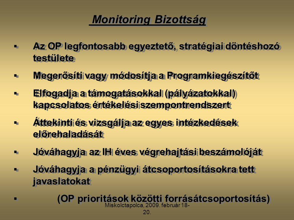 Miskolctapolca, 2009. február 18- 20. Monitoring Bizottság  Az OP legfontosabb egyeztető, stratégiai döntéshozó testülete  Megerősíti vagy módosítja