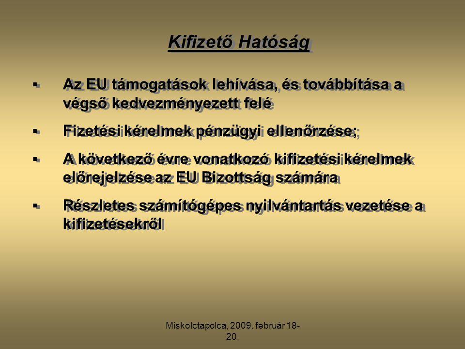 Miskolctapolca, 2009. február 18- 20. Kifizető Hatóság  Az EU támogatások lehívása, és továbbítása a végső kedvezményezett felé  Fizetési kérelmek p