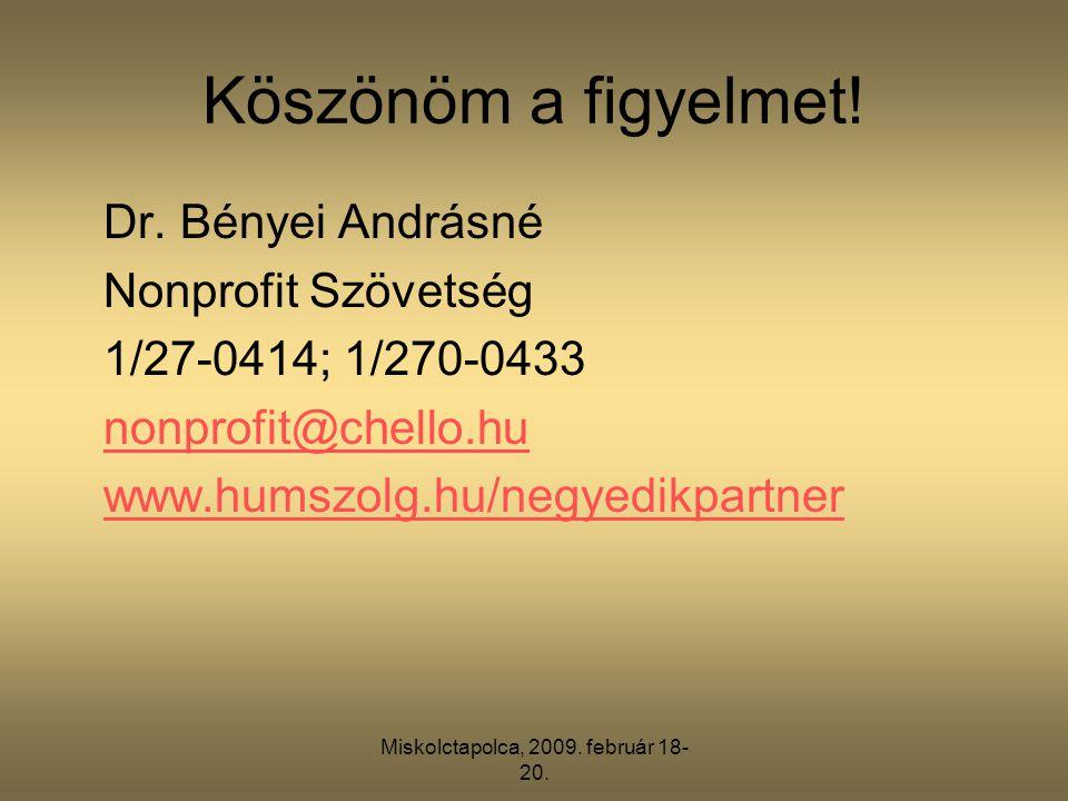 Miskolctapolca, 2009. február 18- 20. Köszönöm a figyelmet.