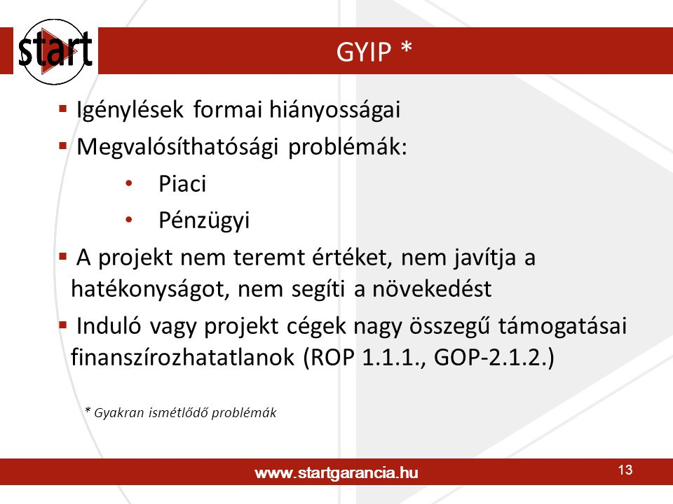 www.startgarancia.hu 13 GYIP * * Gyakran ismétlődő problémák  Igénylések formai hiányosságai  Megvalósíthatósági problémák: • Piaci • Pénzügyi  A projekt nem teremt értéket, nem javítja a hatékonyságot, nem segíti a növekedést  Induló vagy projekt cégek nagy összegű támogatásai finanszírozhatatlanok (ROP 1.1.1., GOP-2.1.2.)