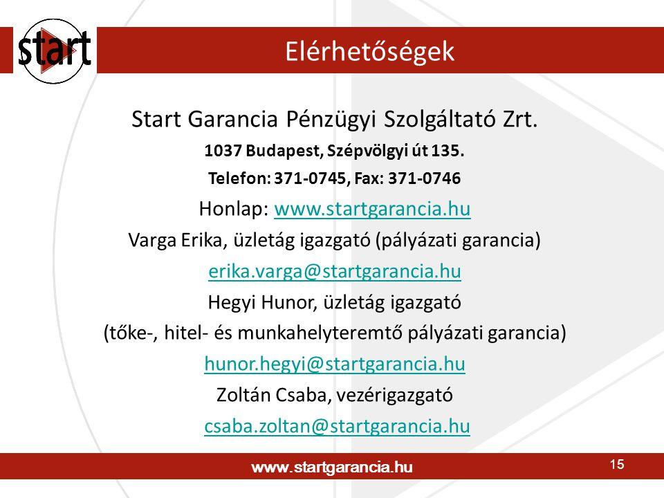 www.startgarancia.hu 15 Elérhetőségek Start Garancia Pénzügyi Szolgáltató Zrt. 1037 Budapest, Szépvölgyi út 135. Telefon: 371-0745, Fax: 371-0746 Honl