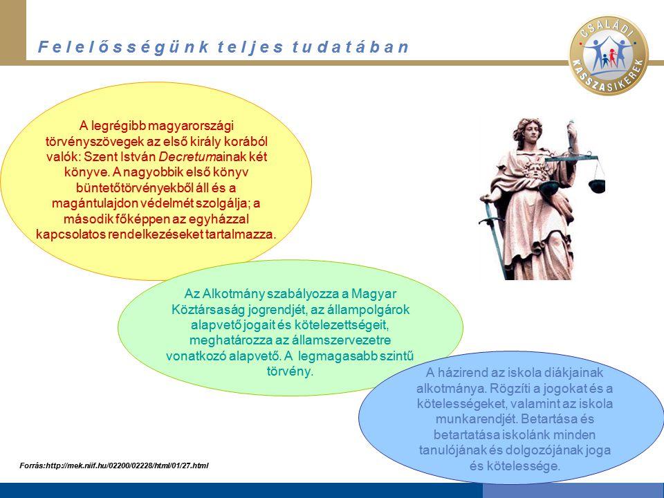 F e l e l ő s s é g ü n k t e l j e s t u d a t á b a n A legrégibb magyarországi törvényszövegek az első király korából valók: Szent István Decretumainak két könyve.