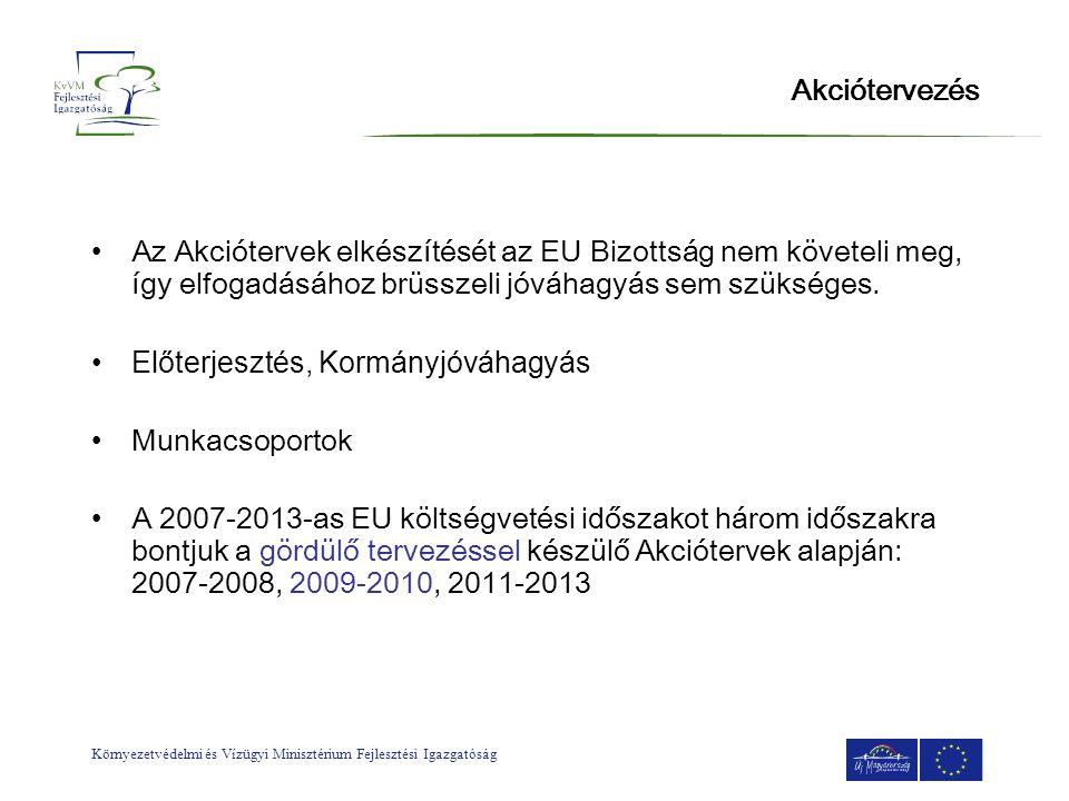 Környezetvédelmi és Vízügyi Minisztérium Fejlesztési Igazgatóság Akciótervezés •Az Akciótervek elkészítését az EU Bizottság nem követeli meg, így elfo
