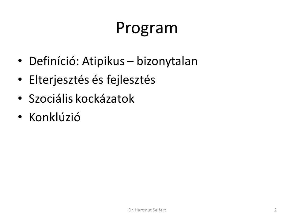 2Dr. Hartmut Seifert Program • Definíció: Atipikus – bizonytalan • Elterjesztés és fejlesztés • Szociális kockázatok • Konklúzió