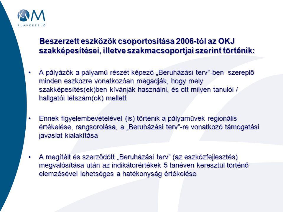 Beszerzett eszközök csoportosítása 2006-tól az OKJ szakképesítései, illetve szakmacsoportjai szerint történik: Beszerzett eszközök csoportosítása 2006