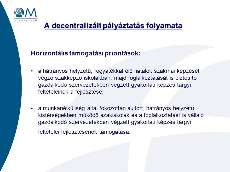 A decentralizált pályáztatás folyamata Pályáztatási - támogatási folyamat (Eljárásrend folyamata) •Miniszteri döntés a decentralizált keret nagyságára és regionális felosztására (az OSZT állásfoglalása alapján): január •Regionális pályázati kiírások előkészítése (egységes Pályázati Dokumentáció Minta –PDM– elkészítése, pályázati információs rendszer továbbfejlesztése az OMAI és a Régiók közti együttműködésben): január – március •Regionális pályázati kiírások megjelentetése: március •Pályaművek kidolgozása, benyújtása: április •Pályaművek regionális értékelése és a miniszteri döntésre vonatkozó javaslat felterjesztése: május •Miniszteri döntés a támogatott pályaművekről (eszközfejlesztésekről) és a támogatási összegekről: június