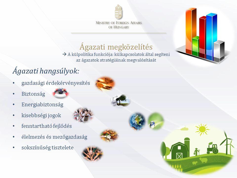 Ágazati megközelítés  A külpolitika funkciója: külkapcsolatok által segíteni az ágazatok stratégiáinak megvalósítását Ágazati hangsúlyok: • gazdasági érdekérvényesítés • Biztonság • Energiabiztonság • kisebbségi jogok • fenntartható fejlődés • élelmezés és mezőgazdaság • sokszínűség tisztelete