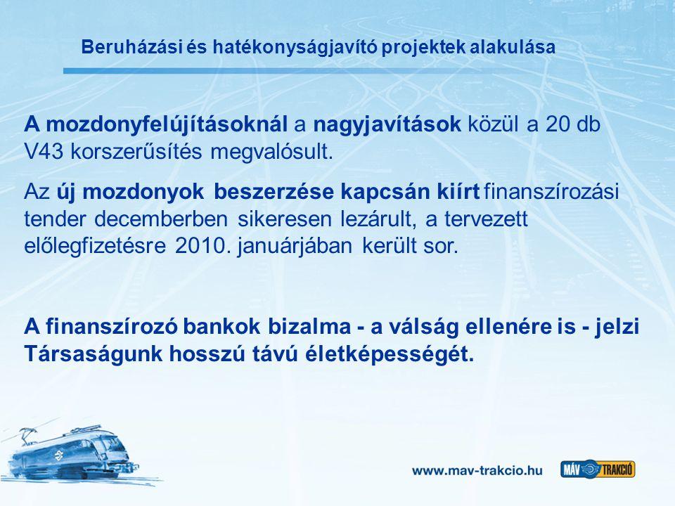 Beruházási és hatékonyságjavító projektek alakulása A mozdonyfelújításoknál a nagyjavítások közül a 20 db V43 korszerűsítés megvalósult. Az új mozdony
