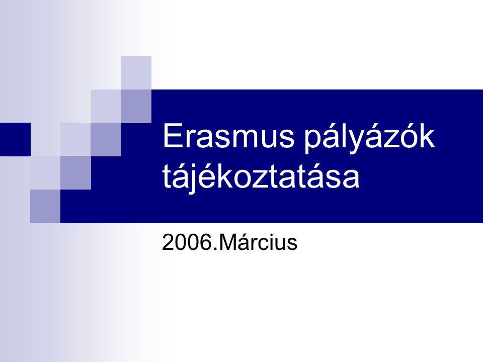Erasmus pályázók tájékoztatása 2006.Március