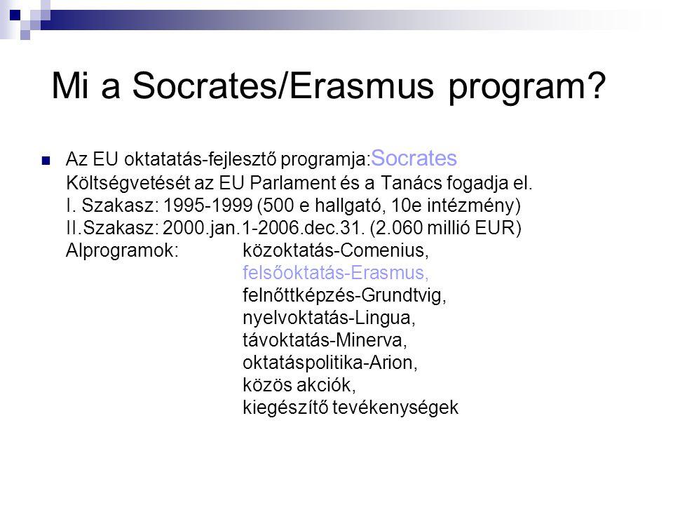 Mi a Socrates/Erasmus program?  Az EU oktatatás-fejlesztő programja: Socrates Költségvetését az EU Parlament és a Tanács fogadja el. I. Szakasz: 1995