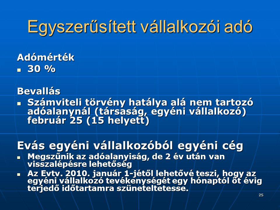 25 Egyszerűsített vállalkozói adó Adómérték  30 % Bevallás  Számviteli törvény hatálya alá nem tartozó adóalanynál (társaság, egyéni vállalkozó) feb