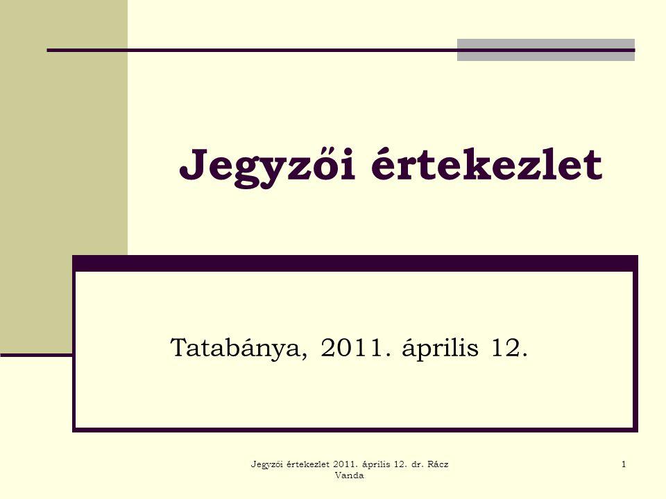 Jegyzői értekezlet 2011. április 12. dr. Rácz Vanda 1 Jegyzői értekezlet Tatabánya, 2011. április 12.