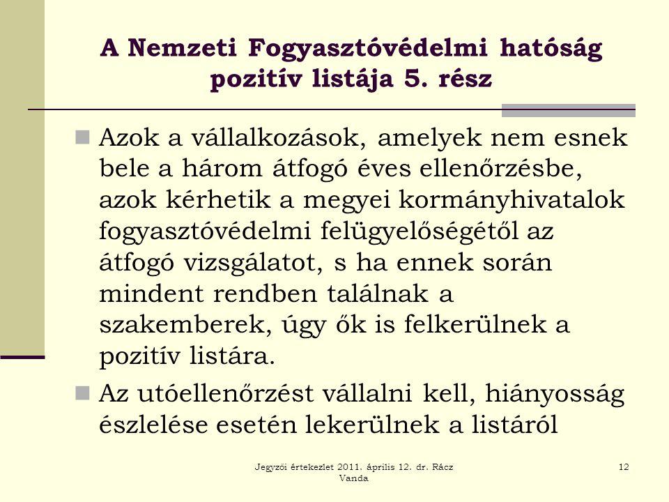 Jegyzői értekezlet 2011. április 12. dr. Rácz Vanda 12 A Nemzeti Fogyasztóvédelmi hatóság pozitív listája 5. rész  Azok a vállalkozások, amelyek nem