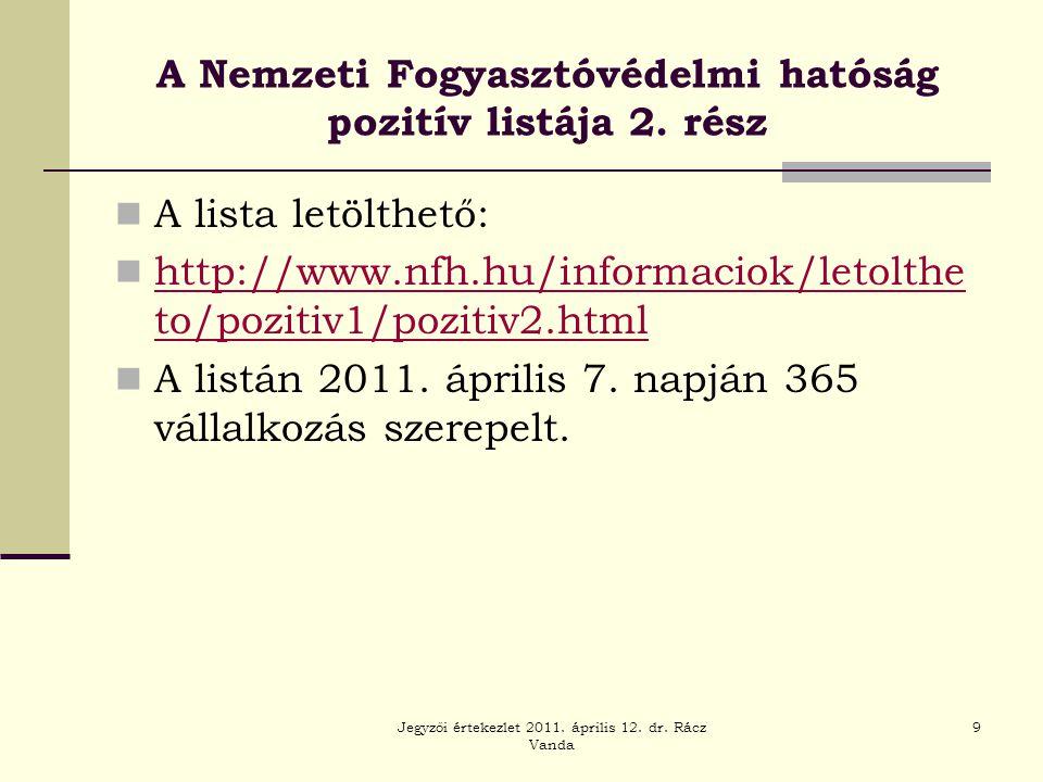 Jegyzői értekezlet 2011. április 12. dr. Rácz Vanda 9 A Nemzeti Fogyasztóvédelmi hatóság pozitív listája 2. rész  A lista letölthető:  http://www.nf
