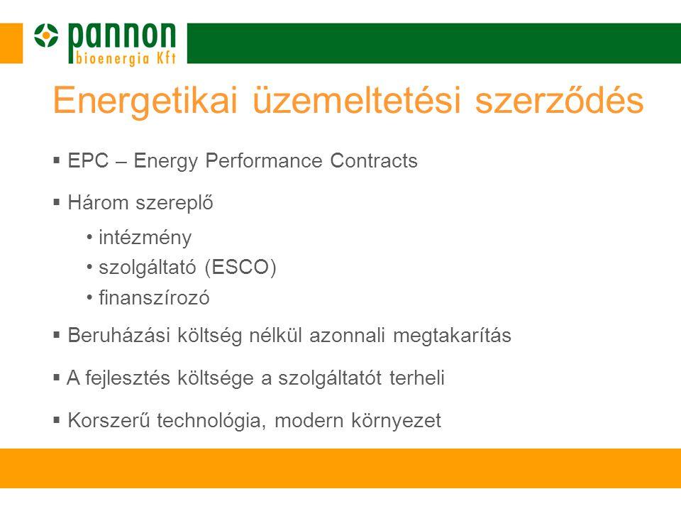  EPC – Energy Performance Contracts  Három szereplő • intézmény • szolgáltató (ESCO) • finanszírozó  Beruházási költség nélkül azonnali megtakarítás  A fejlesztés költsége a szolgáltatót terheli  Korszerű technológia, modern környezet Energetikai üzemeltetési szerződés