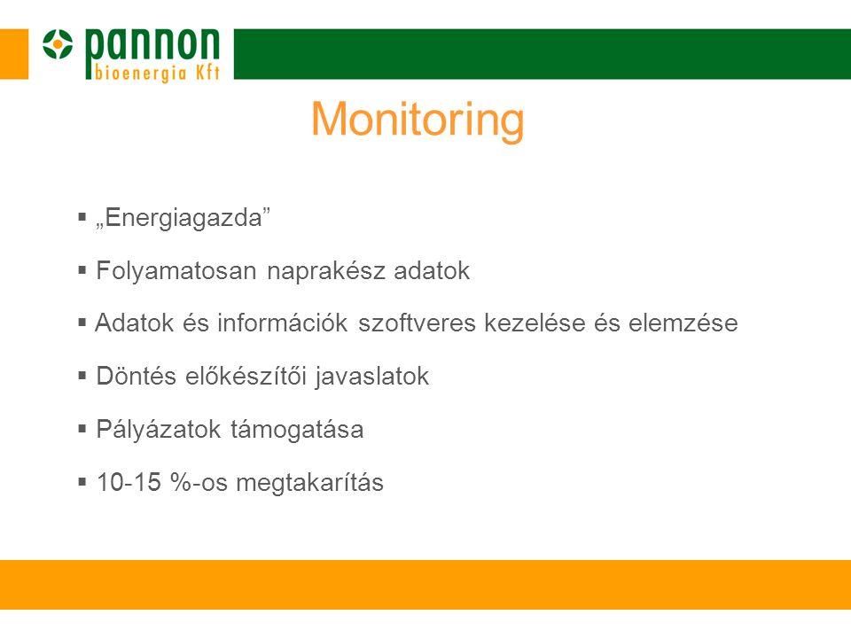 """ """"Energiagazda  Folyamatosan naprakész adatok  Adatok és információk szoftveres kezelése és elemzése  Döntés előkészítői javaslatok  Pályázatok támogatása  10-15 %-os megtakarítás Monitoring"""