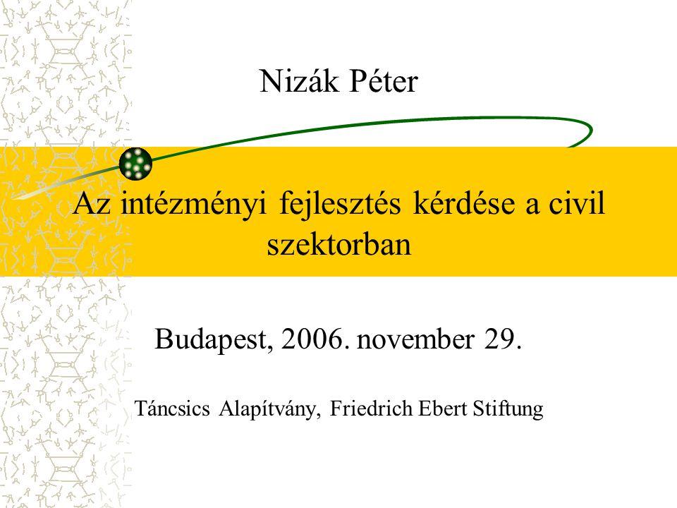 Nizák Péter Az intézményi fejlesztés kérdése a civil szektorban Budapest, 2006.