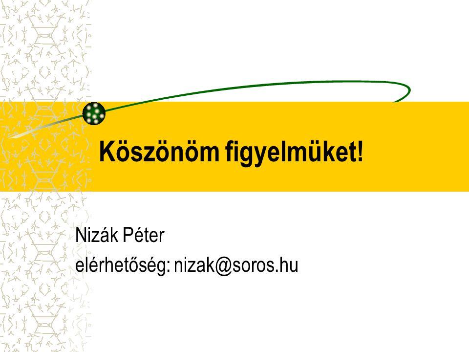 Köszönöm figyelmüket! Nizák Péter elérhetőség: nizak@soros.hu