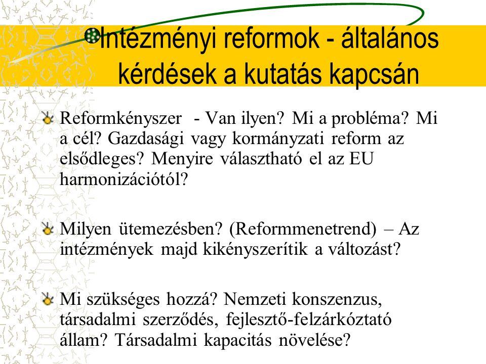 Intézményi reformok - általános kérdések a kutatás kapcsán Reformkényszer - Van ilyen.