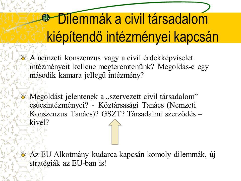 Dilemmák a civil társadalom kiépítendő intézményei kapcsán A nemzeti konszenzus vagy a civil érdekképviselet intézményeit kellene megteremtenünk.