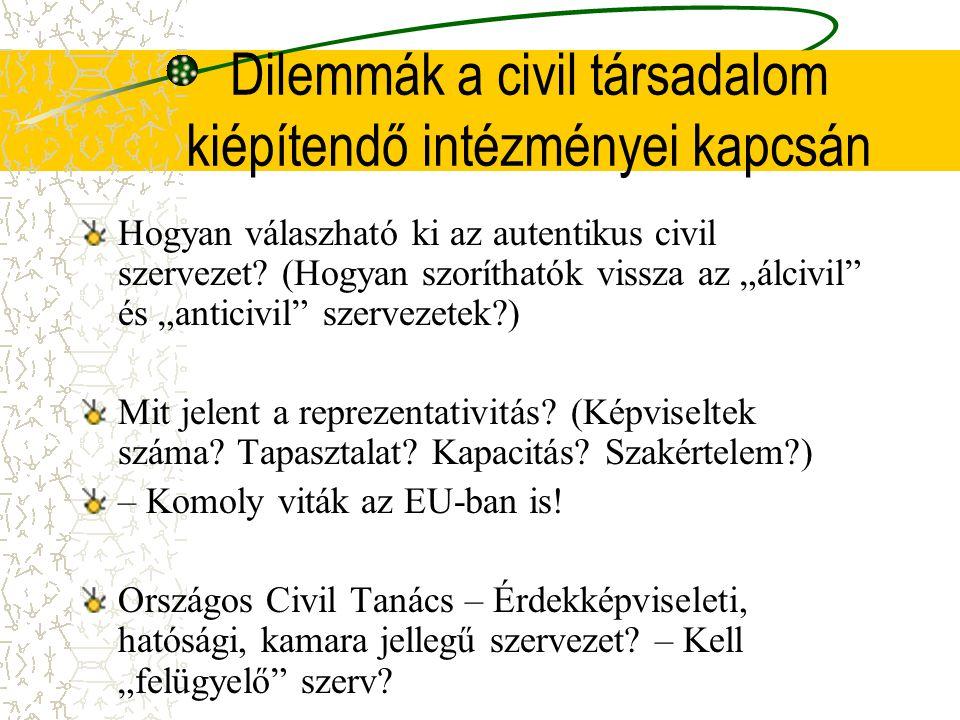 Dilemmák a civil társadalom kiépítendő intézményei kapcsán Hogyan válaszható ki az autentikus civil szervezet.