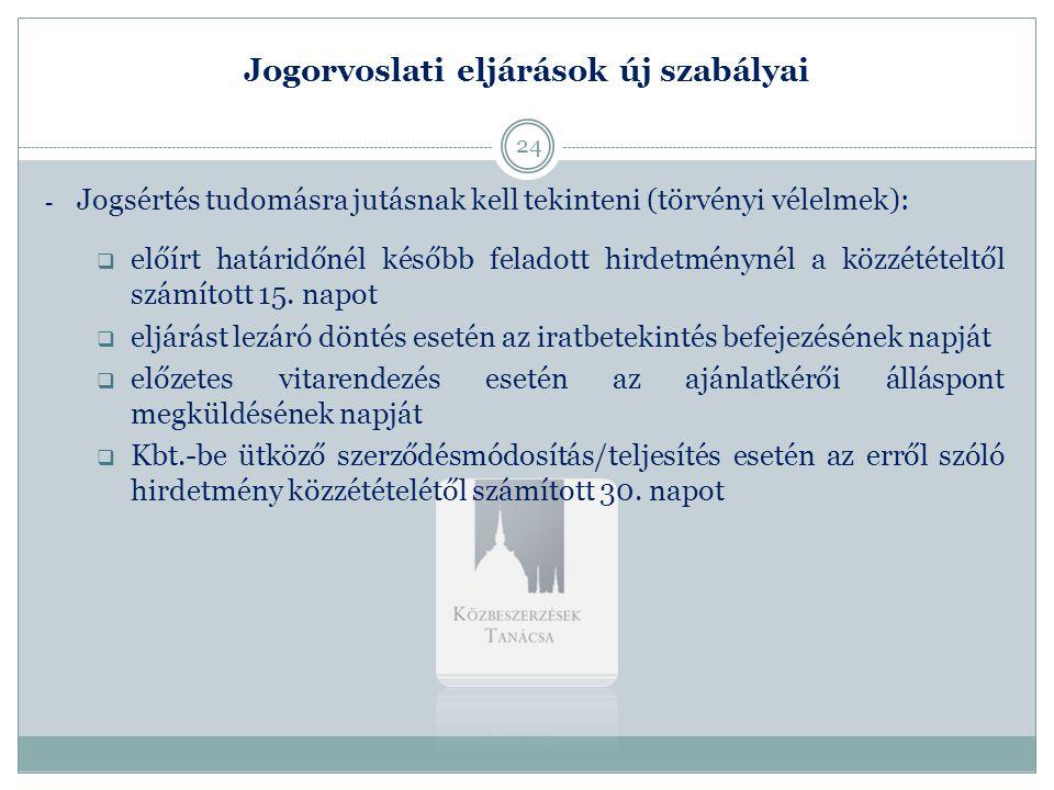 Jogorvoslati eljárások új szabályai - Jogsértés tudomásra jutásnak kell tekinteni (törvényi vélelmek):  előírt határidőnél később feladott hirdetmény