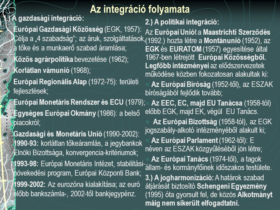 """Az integráció folyamata 1.) A gazdasági integráció: Európai Gazdasági Közösség (EGK, 1957): Célja a """"4 szabadság ; az áruk, szolgáltatások, a tőke és a munkaerő szabad áramlása; Közös agrárpolitika bevezetése (1962); Korlátlan vámunió (1968); Európai Regionális Alap (1972-75): területi fejlesztések; Európai Monetáris Rendszer és ECU (1979); Egységes Európai Okmány (1986): a belső piacokról; Gazdasági és Monetáris Unió (1990-2002): 1990-93: korlátlan tőkeáramlás, a jegybankok Elnöki Bizottsága, konvergencia-kritériumok; 1993-98: Európai Monetáris Intézet, stabilitási- növekedési program, Európai Központi Bank; 1999-2002: Az eurozóna kialakítása; az euró előbb bankszámla-, 2002-től bankjegypénz."""