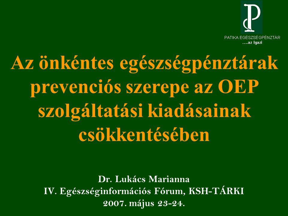 Dr. Lukács Marianna IV. Egészséginformációs Fórum, KSH-TÁRKI 2007.