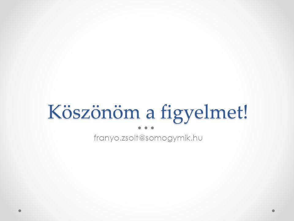 Köszönöm a figyelmet! franyo.zsolt@somogymik.hu