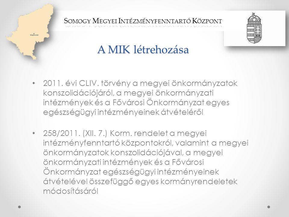 A MIK létrehozása • 2011. évi CLIV. törvény a megyei önkormányzatok konszolidációjáról, a megyei önkormányzati intézmények és a Fővárosi Önkormányzat