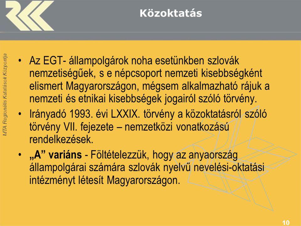 MTA Regionális Kutatások Központja 10 Közoktatás •Az EGT- állampolgárok noha esetünkben szlovák nemzetiségűek, s e népcsoport nemzeti kisebbségként elismert Magyarországon, mégsem alkalmazható rájuk a nemzeti és etnikai kisebbségek jogairól szóló törvény.