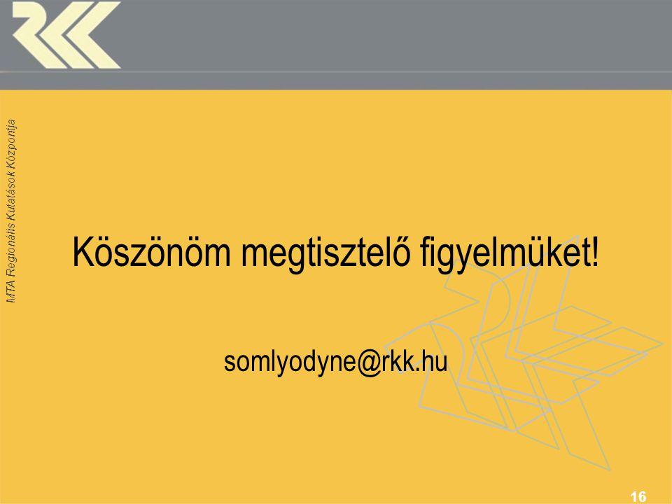 MTA Regionális Kutatások Központja 16 Köszönöm megtisztelő figyelmüket! somlyodyne@rkk.hu