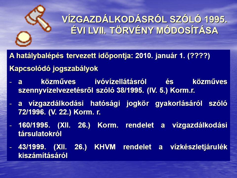 A hatálybalépés tervezett időpontja: 2010. január 1. (????) Kapcsolódó jogszabályok -a közműves ivóvízellátásról és közműves szennyvízelvezetésről szó