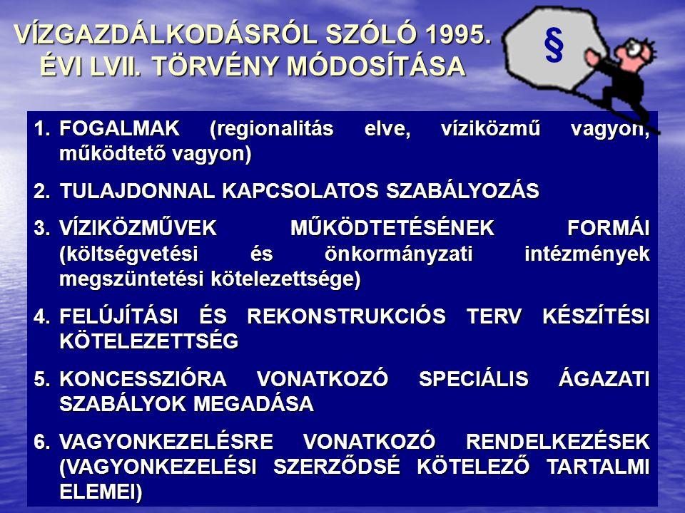 VÍZGAZDÁLKODÁSRÓL SZÓLÓ 1995. ÉVI LVII. TÖRVÉNY MÓDOSÍTÁSA 1.FOGALMAK (regionalitás elve, víziközmű vagyon, működtető vagyon) 2.TULAJDONNAL KAPCSOLATO