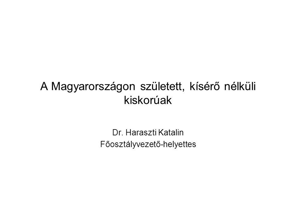 A Magyarországon született, kísérő nélküli kiskorúak Dr. Haraszti Katalin Főosztályvezető-helyettes