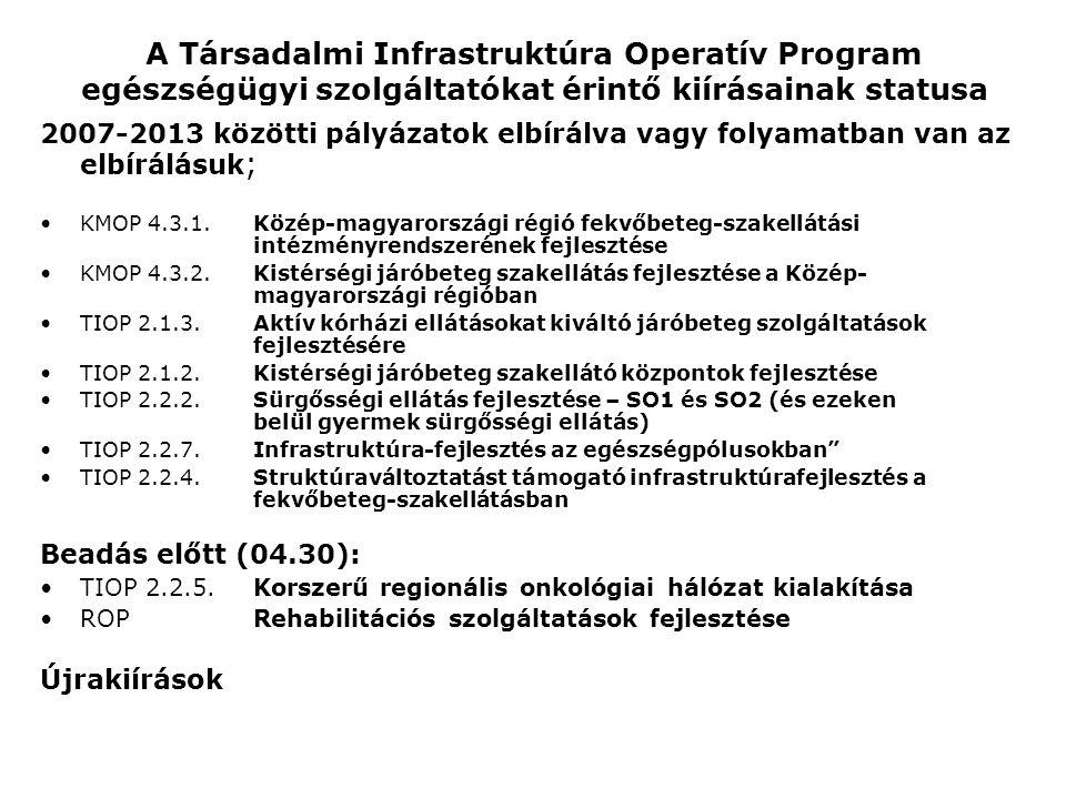 A Társadalmi Infrastruktúra Operatív Program egészségügyi szolgáltatókat érintő kiírásainak statusa 2007-2013 közötti pályázatok elbírálva vagy folyam