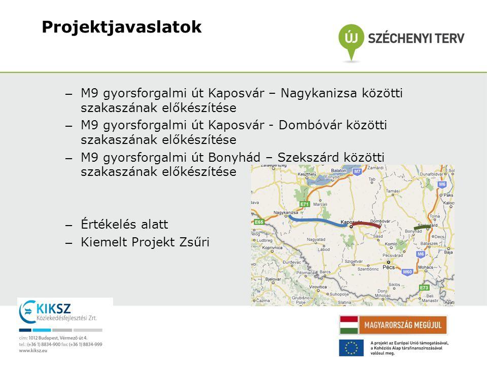 – M9 gyorsforgalmi út Kaposvár – Nagykanizsa közötti szakaszának előkészítése – M9 gyorsforgalmi út Kaposvár - Dombóvár közötti szakaszának előkészíté